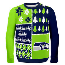 Seattle Seahawks Ugly Sweater - Busy Block - NEW NFL Christmas Holiday