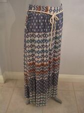 NWT DEMOCRACY 2X & 3X UNLINED MAXI SKIRT MULTI COLOR GEOMETRIC PATTERN CORD TIE