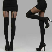 Women's Black Fake Garters Style Stockings Socks Thigh-Highs Pantyhose