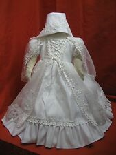 Baby Girl 3 pc Christening/ Baptism Dress w/ Bonnet Hat/ WHITE/ Size 2 & 4 SALE!