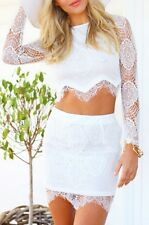 Women Crop Top and Skirt Clothing Set Sexy Two-piece Lace Bodycon Mini Dress New