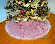 "30"" 3' 4' 5' Frost Faux Fur Tree Skirts Round Pink White Christmas Tree Decor"