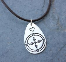 Follow Your Heart Necklace - handmade fine silver compass charm on leather
