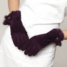 Woman Genuine Pigskin Suede Leather Rabbit Fur Trim Gloves 4 color On Sale #130