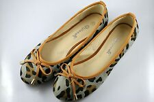 Womens Comfy Ballet Flats Casual Leopard Print Bow Flat Shoes (Grey)