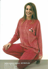 PYJAMA FEMME VELOURS COCO DREAM : MARQUE BELGE COL ROND + 4 BOUTONS