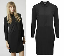 Topshop New in*** Long Sleeve Black Hybrid Shirt Dress RRP £40 Sizes 4 to 16
