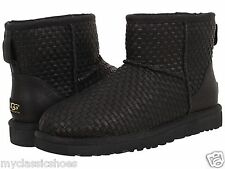 UGG AUSTRALIA WOMEN'S CLASSIC MINI WOVEN LEATHER BLACK GENUINE NEW UGG BOOTS