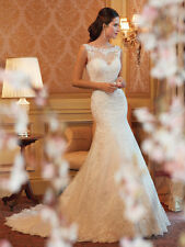 New Lace White/Ivory Wedding Dress Bridal Gown Custom Size 4-6-8-10-12-14-16-18