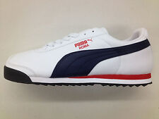 Mens Puma Roma SL Leather Classic Sneakers New, White Blue 353572-32