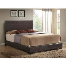 Modern Bed Faux Leather Bed Frame Upholstered w/ Headboard Full Queen King Brown