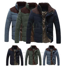 Men Winter Warm Thermal Wadded Jacket Cotton Padded Coat Slim Fit Down Overcoat