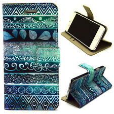 Peacock Stripes Wallet card slot PU Leather Stand Case Cover Skin for phones