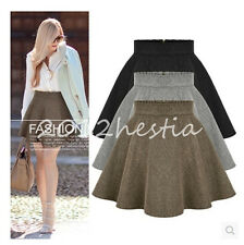 Women Fashion Sexy Slim High Waist Wool Mini Skirt Winter Short Skirt Zipper New
