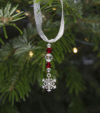 Three Silver Frozen Snowflake Christmas Tree Decorations with Swarovski Crystal