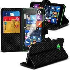 Carbon Fiber Wallet Stand Book Flip Folio Leather Pouch Holder Phone Case Cover