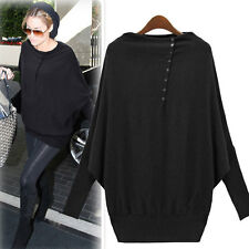 2 Colors Women Batwing-Sleeve Button Tunic Tops Blouse Casual T-Shirts S M L XL