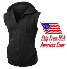 New Men's Black Vest Zipper Hoodie Sweatshirt Biker Gym MMA Boxing Workout Beast