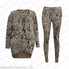 Ladies Womens Animal Leopard Print Baggy Sweatshirt Top & Leggings Set SM ML