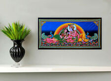 krishna radha love in garden sequin wall hanging ethnic tapestry decor art India