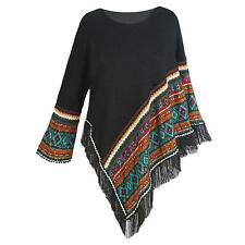 Black Fringe Aztec Poncho Sweater