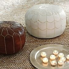 Moroccan Leather Pouf-Avail. in 4 Colors; Hassock Ottoman Footstool Poof