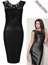 Celeb PVC Womens Black Michelle Keegan Lace Insert Wetlook Bodycon Midi Dress