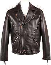 Mens Ghost Rider Black Metal Spikes Motorcycle Cowhide Goth Biker Leather Jacket