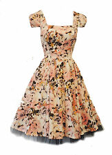 New Vtg 1940's 50's style Retro Blush Peach Floral Rockabilly Party Prom Dress