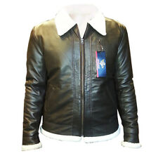 Mens Sheep Nappa Top Quality Selected Fur Lined HARRINGTON COLLAR Leather Jacket