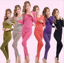 Sexy Womens Round Neck Winter Thermal Set Top&Pants Underwear Long Johns Pajamas