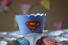 "12 Boys Bday Party ""SUPERMAN"" Cupcake Wrappers - WORLDWIDE FREE SHIPPING"