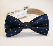 Navy and Gold Dog Bow Tie, Polka dots bow, Pet accessory, Dog wedding accessory