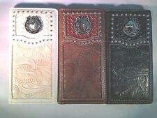 Men Women Western Rodeo Wallet Horseshoe Horse tooled Stud Checkbook Pick Color