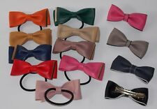 NEW Women Girls Leather Bow Hair Bands Elastic Hairband Bobbles and Clips!