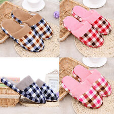 Women Men Grid Fashion Winter Warm Soft Antiskid Indoor Household Home Slippers