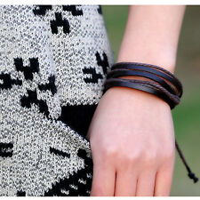 New Wrap Multilayer Genuine Leather Bracelet with Braided rope Fashion Jewelry
