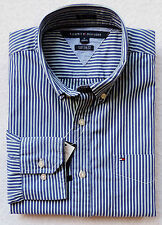 NWT Mens Tommy Hilfiger Custom Fit, Gray, Long Sleeve, Striped Shirt