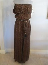 NWT COCO BIANCO M & XL Strapless Animal Palazzo Jumpsuit MSRP $88.Leopard Print