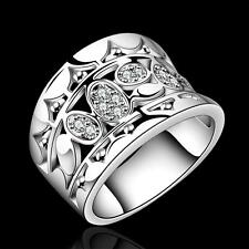 Women new fashion Natural Crystal 925 solid sterling silver Ring R570 Size 7 8