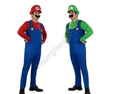 Super Mario Luigi Men's Fancy Dress Fun Costume Adult Party Outfit Red Green