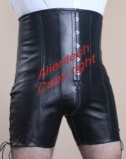 Men's High Quality REAL COW LEATHER Corset Shorts high waisted gothicrockabilly