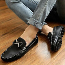 NEW Mens Comfy Leather Casual Slip On Loafer Shoes Moccasins Driving Flats Shoes