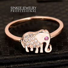 Sinkee 18k rose gold plated cute zircon elephant rings for women and girl JZ432