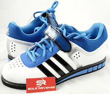 New! adidas POWERLIFT 2.0 Weightlifting Shoes White Black Air Force Blue B39760