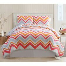 REVERSIBLE PINK WHITE GREY ORANGE CHEVRON DOTS ZIG ZAG GIRLS SOFT COMFORTER SET