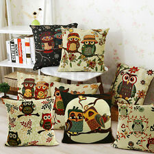 LINEN TAPESTRY OWL FLORAL CUSHION COVER PILLOW CASE SOFA CAR BED HOME DECOR UK