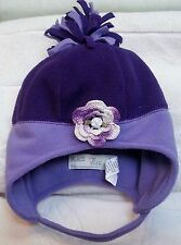 NEW PURPLE LAVENDER FLEECE HAT w/ ROSE 12 18 24 MONTHS GIRLS BABY INFANT TODDLER