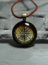 "Compass Photo Pendant ""Handmade"", Glass and Mixed Metals"