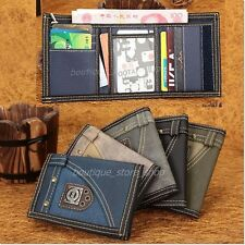5 COLOR COOL FASHION NE CANVAS Mens Credit Card Holder Trifold Wallet Purse Case